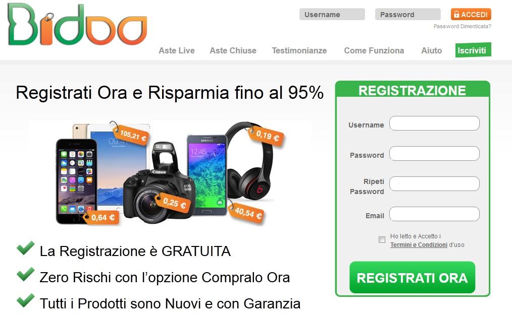 registrazione bidoo